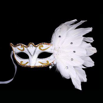 Fake Pearl Embellished Party Feather Masquerade Mask - WHITE WHITE