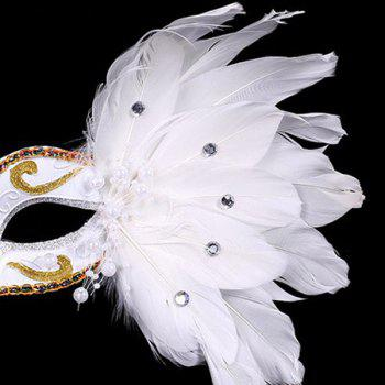 Fake Pearl Embellished Party Feather Masquerade Mask - Blanc