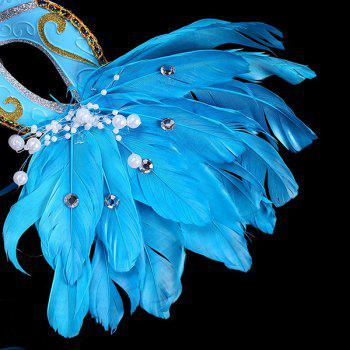 Fake Pearl Embellished Party Feather Masquerade Mask - BLUE