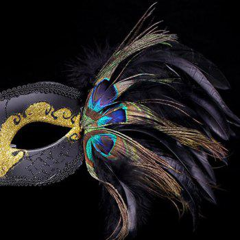 Fake Pearl Embellished Party Feather Masquerade Mask - BLACK