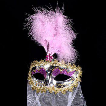 Indian Princess Belly Dance Tulle Feather Party Mask - PINK