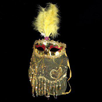 Indian Princess Belly Dance Tulle Feather Party Mask - YELLOW YELLOW