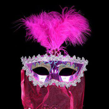 Indian Princess Belly Dance Tulle Feather Party Mask - TUTTI FRUTTI