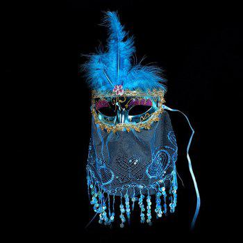 Indian Princess Belly Dance Tulle Feather Party Mask - BLUE BLUE