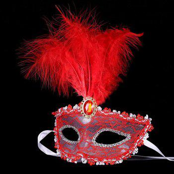 Faux Crystal Embellished Lace Feather Party Mask - RED