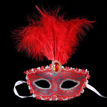 Faux Crystal Embellished Lace Feather Party Mask - RED RED