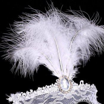 Faux Crystal Embellished Lace Feather Party Mask - WHITE