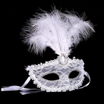 Faux Crystal Embellished Lace Feather Party Mask - WHITE WHITE