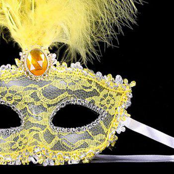 Faux Crystal Embellished Lace Feather Party Mask - YELLOW
