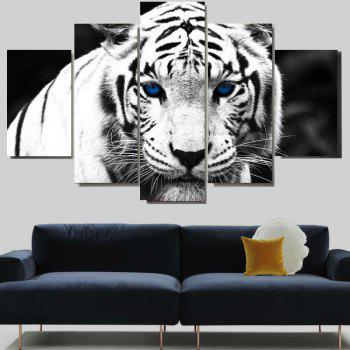 White Tiger Print Unframed Split Canvas Paintings