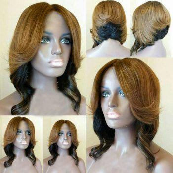 Center Parting Short Layered Wavy Feathered Bob Synthetic Wig - FLAX FLAX