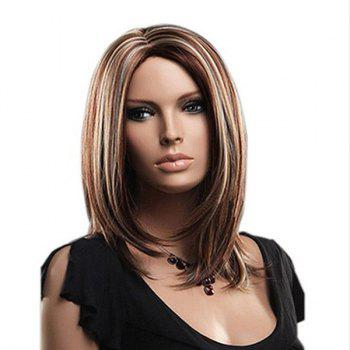 Center Parting Highlighted Straight Medium Bob Synthetic Wig - COLORMIX