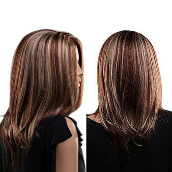 Center Parting Highlighted Straight Medium Bob Synthetic Wig - COLORMIX COLORMIX