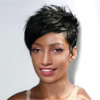 Ultra Short Oblique Bang Layered Straight Pixie Synthetic Wig - JET BLACK 01# JET BLACK