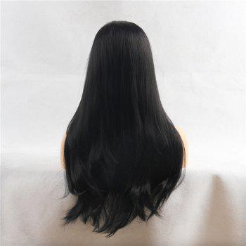 Middle Part Long Natural Straight Heat Resistant Synthetic Wig - JET BLACK 24INCH