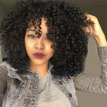 Medium See-through Fringe Fluffy Afro Curly Synthetic Wig