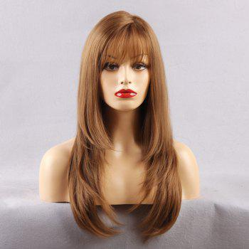 See-through Fringe Long Layered Straight Synthetic Wig - LIGHT BROWN LIGHT BROWN