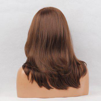 Side Parting Layered Medium Natural Straight Synthetic Wig - BROWN