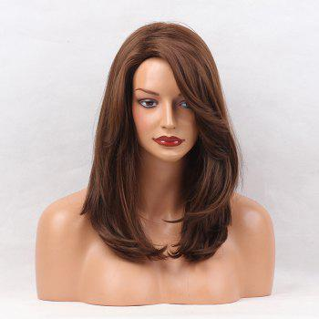 Side Parting Layered Medium Natural Straight Synthetic Wig - BROWN BROWN