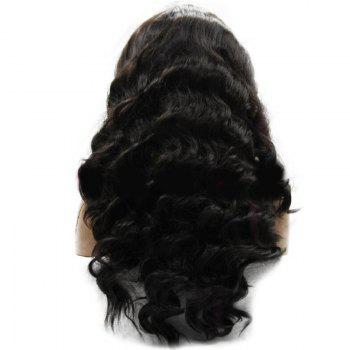Long Middle Part Fluffy Thick Body Wave Synthetic Wig - NATURAL BLACK