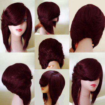 Medium Side Flip Part Straight Inverted Bob Layered Synthetic Wig - WINE RED WINE RED