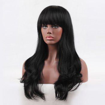 Long Neat Bang Slightly Curly Human Hair Wig - 22INCH 22INCH