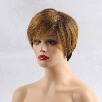 Short Side Bang Layered Straight Pixie Colormix Human Hair Wig - COLORMIX