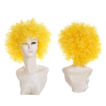 Fluffy Afro Curly Short Clown Fans Carnival Party Wig - YELLOW YELLOW