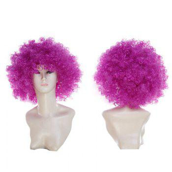 Fluffy Afro Curly Short Clown Fans Carnival Party Wig - PURPLE PURPLE