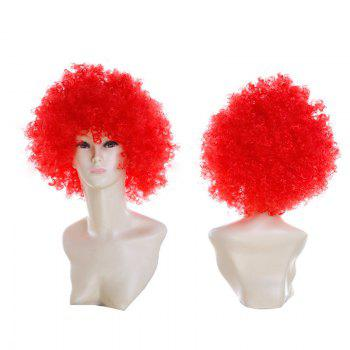 Fluffy Afro Curly Short Clown Fans Carnival Party Wig - RED RED