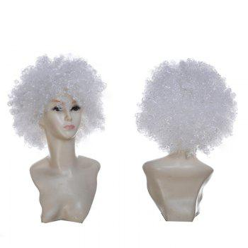 Fluffy Afro Curly Short Clown Fans Carnival Party Wig - WHITE WHITE