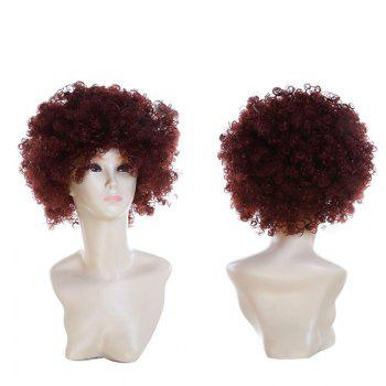 Fluffy Afro Curly Short Clown Fans Carnival Party Wig - COFFEE COFFEE
