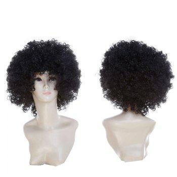 Fluffy Afro Curly Short Clown Fans Carnival Party Wig - BLACK BLACK