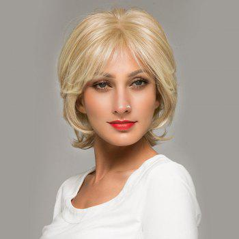 Short Inclined Bang Shaggy Natural Straight Lace Front Human Hair Wig - GOLDEN BROWN WITH BLONDE GOLDEN BROWN/BLONDE