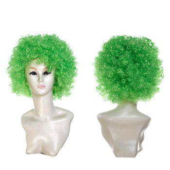 Fluffy Afro Curly Short Clown Fans Carnival Party Wig - GREEN GREEN