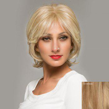 Short Inclined Bang Shaggy Natural Straight Lace Front Human Hair Wig - BLONDE BLONDE