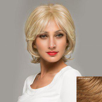 Short Inclined Bang Shaggy Natural Straight Lace Front Human Hair Wig - DARK ASH BLONDE DARK ASH BLONDE