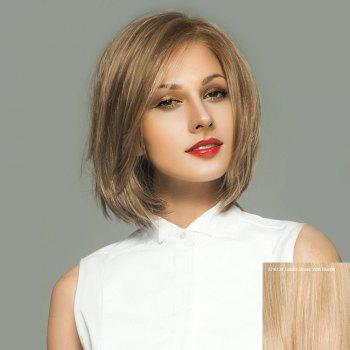 Short Side Parting Straight Bob Lace Front Real Human Hair Wig - GOLDEN BROWN WITH BLONDE GOLDEN BROWN/BLONDE