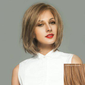 Short Side Parting Straight Bob Lace Front Real Human Hair Wig - BLONDE WITH AUBURN BROWN BLONDE/AUBURN BROWN