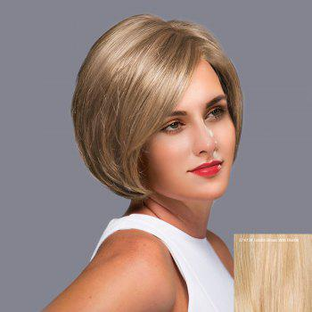 Side Part Short Straight Bob Lace Front Human Hair Wig - GOLDEN BROWN WITH BLONDE GOLDEN BROWN/BLONDE