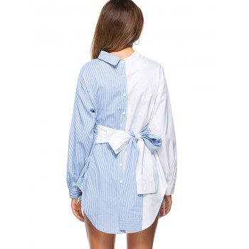Striped High Low Bowknot Shirt - BLUE 2XL