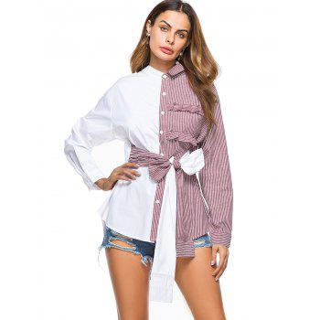 Striped High Low Bowknot Shirt - WINE RED M