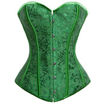Lace-up Jacquard Push Up Corset - GREEN GREEN