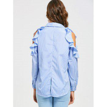 High Low Striped Ruffle Cold Shoulder Shirt - XL XL