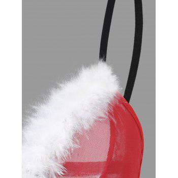Mesh Feather Christmas Bralette Costume - ONE SIZE ONE SIZE