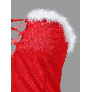 Feather Velvet Christmas Corset Costume - RED ONE SIZE
