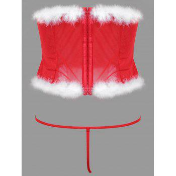 Feather Velvet Christmas Corset Costume - RED RED