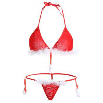 Velvet Feather Christmas Bralette Set - RED ONE SIZE