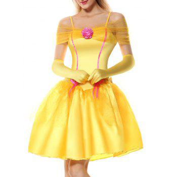 Off Shoulder Holiday Princess Costume Dress - YELLOW L