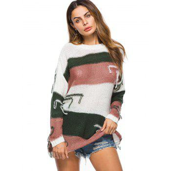 Crew Neck Drop Shoulder Color Block Distressed Tunic Sweater - GREEN ONE SIZE